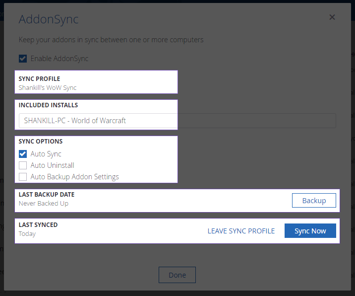 WoW Addons Sync & Settings Backup