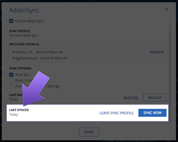 WoW Addons Sync & Settings Backup
